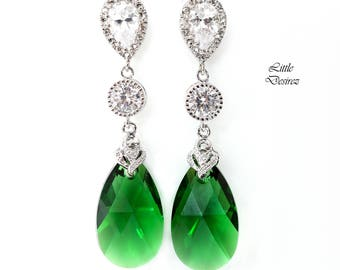 Green Earrings Emerald Earrings Bridal Earrings Swarovski Crystal Dark Moss Dark Green Forest Green Cubic Zirconia Bridesmaid Gift DM32PC