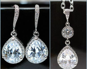 Wedding Jewelry Bridal Jewelry Lux Cubic Zirconia Jewelry Set Bridesmaid Jewelry White Crystal Hypoallergenic Bling Jewelry Shimmer SPARKLE