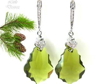 Olive Green Earrings Swarovski Earrings Drop Earrings Baroque Crystal Bridesmaid Gift Vintage Style Green Earrings Handmade Gifts OG30H