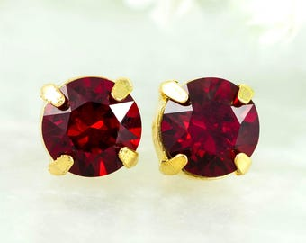 Red Stud Earrings Crystal Solitaire Studs Everyday Earrings Swarovski Crystal Dark Red Earrings Bridesmaid Earrings Holiday Jewelry SI35S