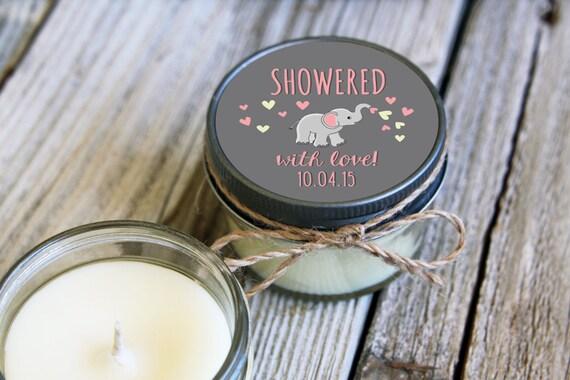 for sdever - add Set of 4 - 4 oz SoyCandle Favor//Elephant Baby Shower