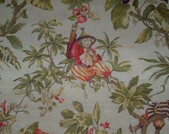ITALIAN WHIMSICAL CHINOISERIE Monkeys Damask Brocade Fabric 2 Yards Cream Multi