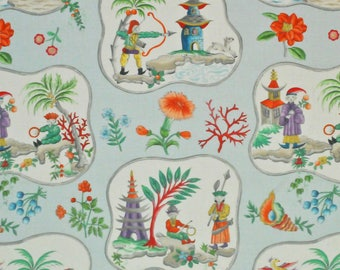 CLARENCE HOUSE Chinoiserie Pagodas Toile Linen Fabric 10 Yards Blue Multi