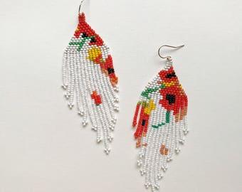 Poppy seed bead earrings