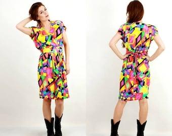 25% OFF Vintage Colorful Dress / Multicolored Dress / Summer Dress / Sleeveless Dress / 90s Dress / Midi Dress / Geometric Dress
