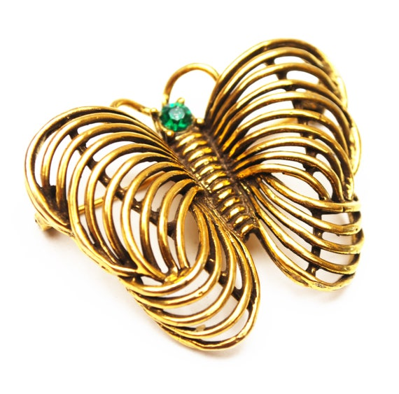 Gold Butterfly Brooch _ Signed Jeanne - Goldtone with green rhinestone - Designer signed - 1960s