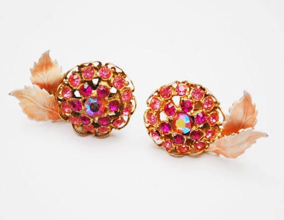 Pink Rhinestone Earrings  - Enamel leaf - Flower floral - Mid Century - clip on -Aurora Borealis