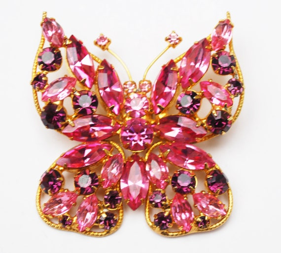 Juliana D&E Butterfly Brooch -Rhinestone - Pink Purple  crystal - Gold metal -flying insect Pin