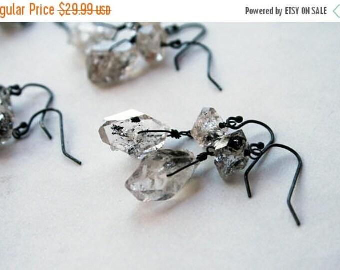 GIFT SALE Herkimer Diamond Sterling Silver Drop Earrings // Herkimer Diamond Dangle Earrings