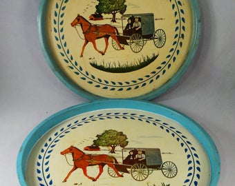 Amish Round Metal Trays, Set of 2 Rustic Amish Trays, Amish Buggy, Horse and Buggy Tray, Vintage Drink Tray