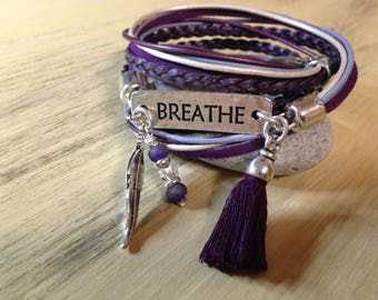 Message Bracelets Inspirational Quote Bracelet Mantra Bracelet Yoga Bracelet Word Bracelet Breathe Bohemian Purple and White Leather Wrap