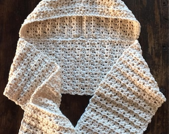 Hooded Scarf with Pockets / Crochet Scarf with Hood / Cream Scarf with Hood / Winter Scarf / Pocket Scarf / Hooded Scarf