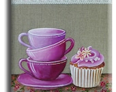 Magnet, aimant carré avec 3 tasses et un cupcake sur fond lin