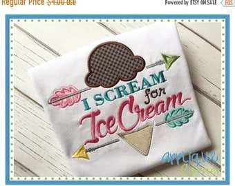 50% Off 2767 I Scream for Ice Cream Applique Design INSTANT DOWNLOAD in digital format for embroidery machine by Applique Corner