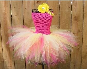 Birthday sale Baby/infant Tutu dress -  newborn-youth 8 pink lemonade tutu with matching headband Valentine's Day