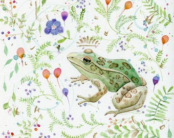 queen frog among the flowers original watercolor painting 12 x 12
