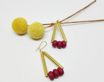 "Boucles d'oreilles ""Candies"" bordeau"