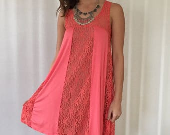 SALE Lace Panel Dress in Coral | Dusty Rose | Off White