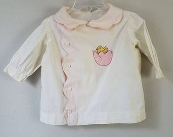 Vintage 40s Girls White Coat Dress with Pink Egg and Yellow Chick- Size 18-24 months- Handmade - Easter