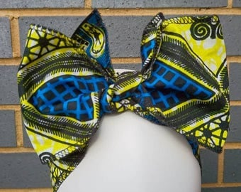 Headtie - African Headwraps - African Print Headtie - African Headgear - Headbands - Blue Tribal Print - Hair Accessories by Afrocentric805