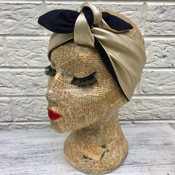 Gold Metallic Headscarf Faux Leather Rockabilly Pinup 1950's Inspired