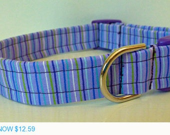 "Sale - 40% Off Dog Collar - Purple Blue and Lime Green Stripes - ""Polly"""