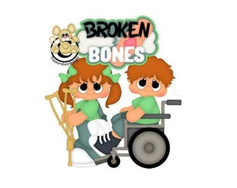 Scrapbook Die cut, Scrapbooking Die Cuts, Broken Bones scrapbook die cuts, Scrapbook embellishment, die cuts, paper crafts, broken bones