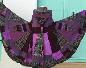 Recycled sweater cardigan coat. Purple, Grey, Burgundy, Lilac