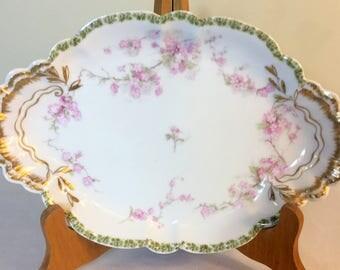 """Haviland Limoges/French Limoges Platter/Pink Floral Limoges/11"""" Serving Platter/Limoges Oblong Platter/1930s Haviland Limoges/Handpainted"""