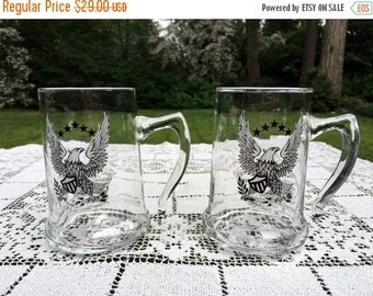 17% OFF SALE 2 Eagle Glass Beer Steins by Libby  Open Handle Beer Mugs  5 in Tall  Set of 2  Patriotic 4th Of July Barware   Man Cave Decor