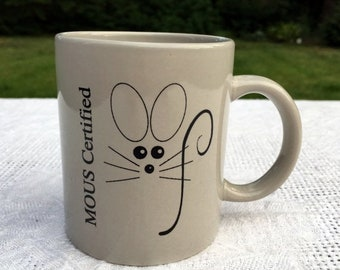 17% OFF SALE Computer MOUS Coffee Mug Microsoft Office User Specialist Nineties Grey with Mouse Drawing 13 oz  3.75 in tall Very Good Condit