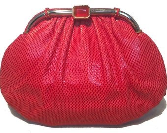 Judith Leiber Vintage Red Lizard Leather Clutch