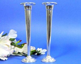 A Pair of Preisner Sterling Silver Bud Vases
