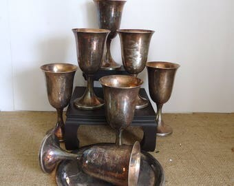 gothic kitchen, vintage chalice cups, silver goblets, props, wine, Gothic wedding, Haunted house prop