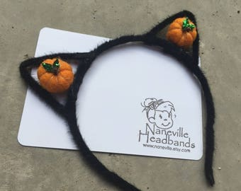 Halloween kitty ears and pumpkin headband