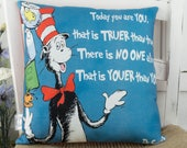 Dr Seuss Quote Pillow Youer Than You with The Cat in the Hat Blue Pillow Dr Seuss Nursery schoolroom book Decor Gift