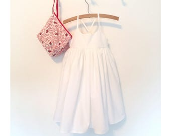 White Cotton Sundress Made to Order for Girls Size 12 months to 5T