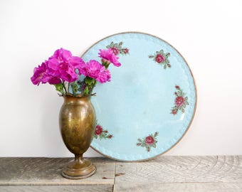 Pretty Vintage Plate - Blue with Gold Rim - Flea Market Chic