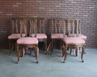 French Antique Dining Chairs / Splatback Dining Chair / Country French Dining Chairs ~ Set of 6