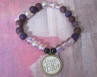 Inspiration Dream Big Charm Beaded Bracelet with Purple Druzy Quartz Beads
