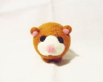 Needle Felted Hamster -  miniature hamster figure - 100% merino wool - wool felt hamster - hamster ornament