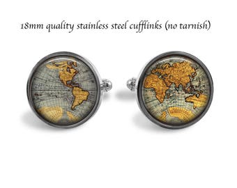 Quality 18mm Stainless Steel World Map Cufflinks - No Tarnish Cuff links - Map Jewelry - Wedding - Prom - Holiday Gift - Suit Accessory