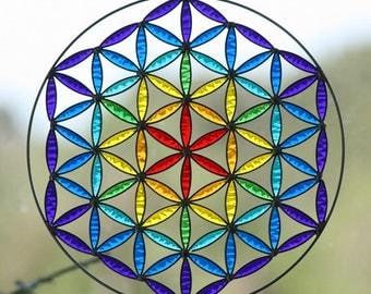Hanging Suncatcher  Mandala  flower of life  chakras color   Sacred geometry  yoga decor
