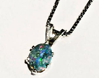 Blue Opal Necklace In Sterling Silver Handmade Jewelry By NorthCoastCottage Jewelry Design & Vintage Treasures