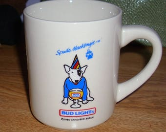 Budweiser Spuds Mackenzie ceramic mug from 1986. Never used. MINT!