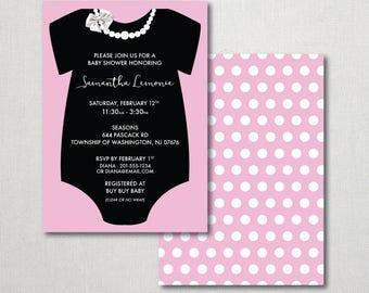 Pearl's Onesie Baby Shower Invitation - Baby Girl Shower - Pearl's Invitation - Baby Onesie Invitation - Baby Shower