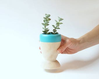 Small Wooden Planter by Willflul, choose your favorite Spring color, hostess gift, mother's day gift, wedding decor, air plant, succulent