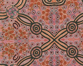 M & S Textiles, Australian Aboriginal Fabric, Bush Food, Ecru, 100% cotton