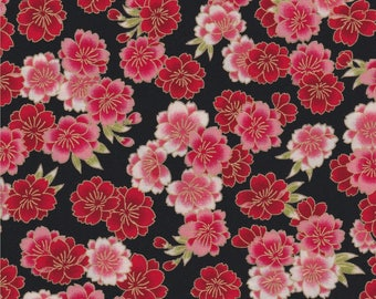 Robert Kaufman Fabric, Imperial Collection 13, Pink & Red Floral Metallic, 100% cotton