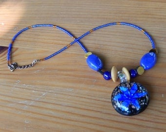 Handmade Beaded Necklace with Blue Glass Flower Pendant - Blue and Gold/Tan/Brown - Hippie, Gypsy, Bohemian, Earthy, Natural